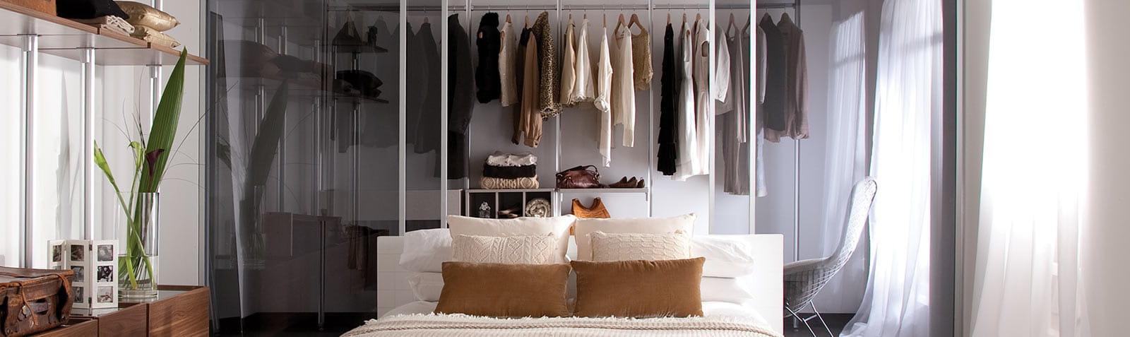 Sliding wardrobe doors in grey
