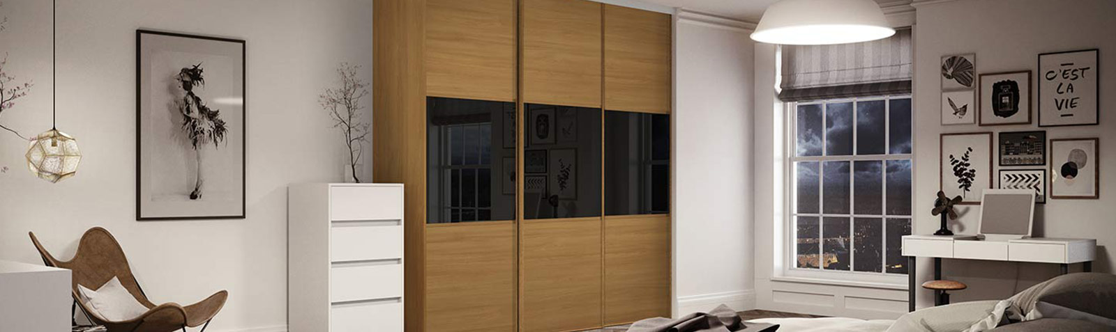 Linear sliding doors black glass